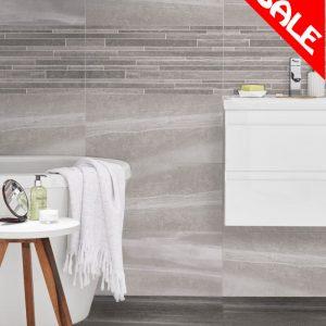 Striata Ceramic Wall Bathroom Tiles 248X498 (Box of 6) in Decor & Grey