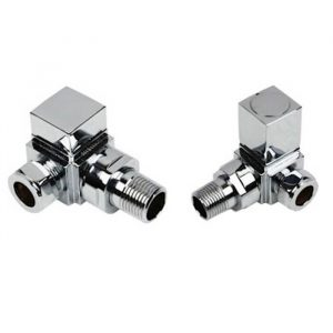 Square Corner Radiator Valves Set In Chrome (Pair)