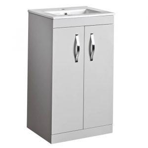 Alp 500mm Floor Standing Door Unit With Rectangular basin In Grey