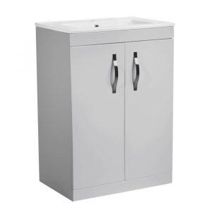 Alp 600mm Floor Standing Door Unit With Rectangular basin In Grey