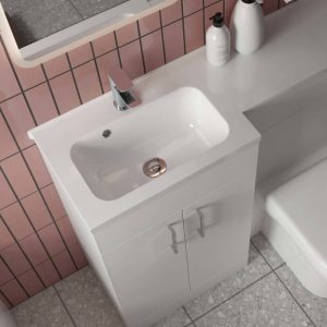 Eden L-Shaped Combination Vanity & WC Unit 1100mm In Gloss White