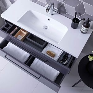 Scheme 1000mm Wall Mounted Vanity & Basin In Seven Colours