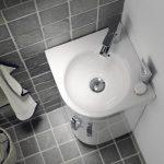 Geberit Selnova Compact Corner Vanity Unit & Basin 320mm In Gloss White Lifestyle