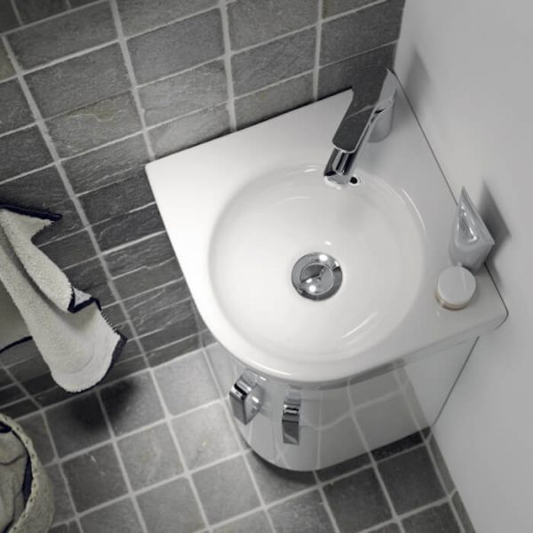 Geberit Selnova Compact Corner Vanity Unit & Basin 320mm In Gloss White