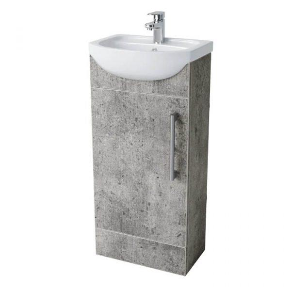 Peru 400mm Floor Standing Door Unit & Basin In Concrete Grey