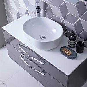 Scheme 1000mm Wall Vanity, Worktop & Cell Vessel Bowl In Seven Colours