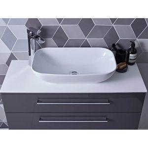 Scheme 1000mm Wall Vanity, Worktop & Rapport Vessel Bowl In Seven Colours