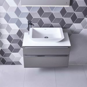 Scheme 1000mm Wall Vanity, Worktop & Stage Vessel Bowl In Seven Colours