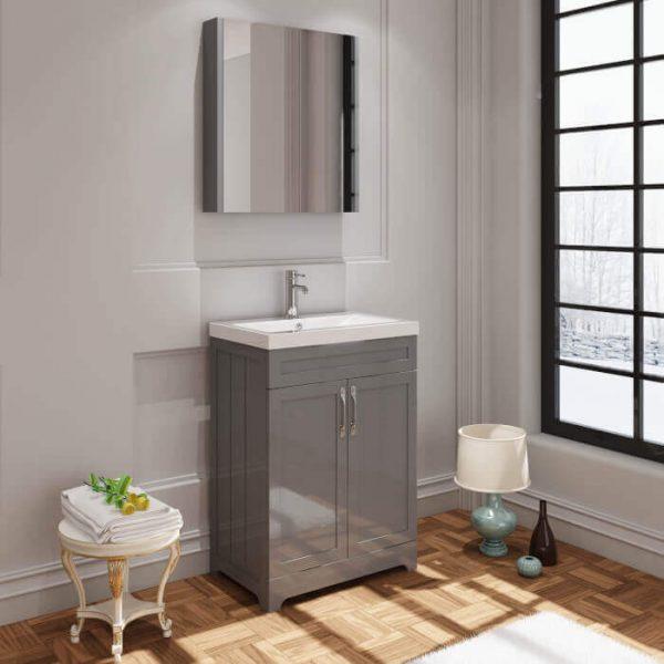 Telford 600mm Floor Standing Vanity Unit & Basin In Gloss Grey
