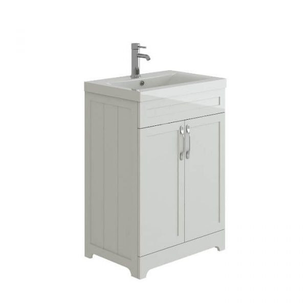 Telford 600mm Floor Standing Vanity Unit & Basin In Gloss White