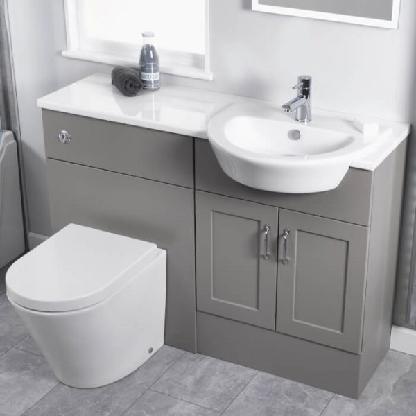Wave 550mm Semi Recessed Basin 1 Tap hole