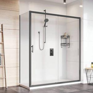Black8 Side Panel 8mm For Sliding Door In Black 800 Or 900mm