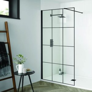 Dart Matrix Black Wetroom Panel 8mm 700 to 1200mm With Profile Pack