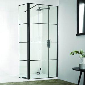 Dart Matrix Black Wetroom Pivoting Deflector Panel 300mm