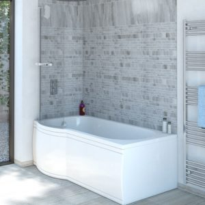 Estelle P Shaped Reinforced Shower Bath Pack 1500x700mm In White