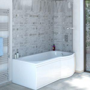 Estelle P Shaped Reinforced Shower Bath Pack 1675x750mm In White