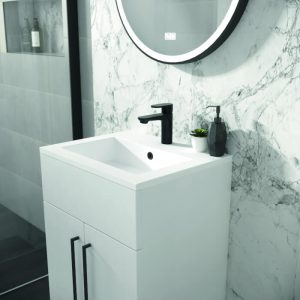 Metro Floor Standing 500mm Vanity Unit & Basin In White