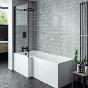 Nicole L Shaped Reinforced Shower Bath Pack 1500x700mm Black Screen