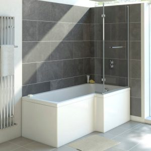 Nicole L Shaped Reinforced Shower Bath Pack 1500x700mm In White