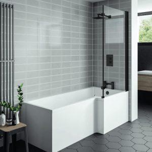 Nicole L Shaped Shower Bath Pack 5mm 1700x700mm Black Screen