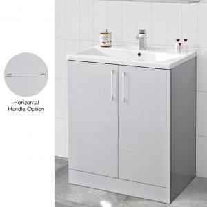 Resolve 600mm Floor Standing Door Unit & Basin Pure Light Grey Gloss
