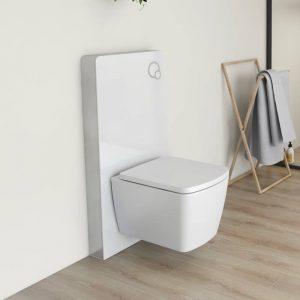 Senso Touch Space Saving Pillar Toilet Frame White & Aluminium