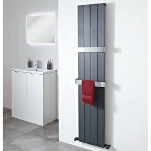 Envy Vertical Heated Radiator In Anthracite 1800 x 375mm